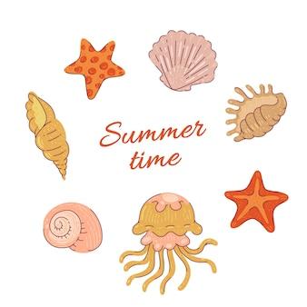 Установите морские ракушки, морские звезды и медузы. иллюстрация тропических животных океана