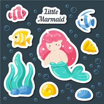 Set sea stickers for kids with mermaid, fish, shells, coral reef.