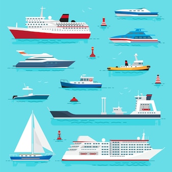 Set of sea transport on blue water illustration of cruise liner, passenger boat, powerful speed boats