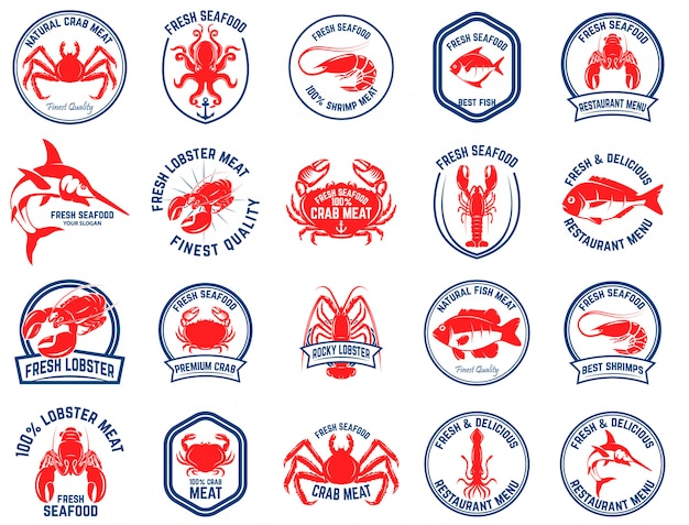 Set of seafood market emblems.  element for logo, label, emblem, sign.  illustration