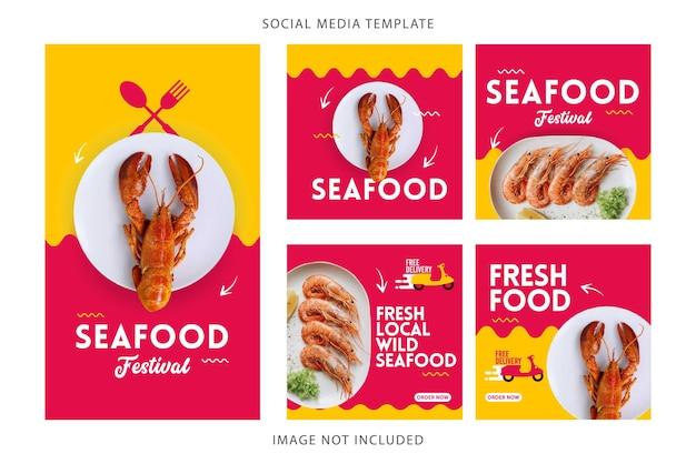 Установите шаблон вектора социальных медиа меню морепродуктов.