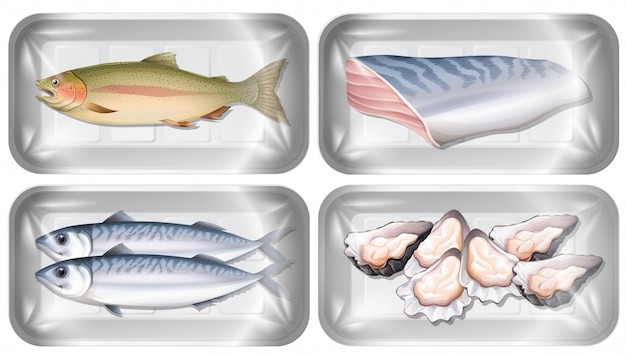 Set of seafood in packaging