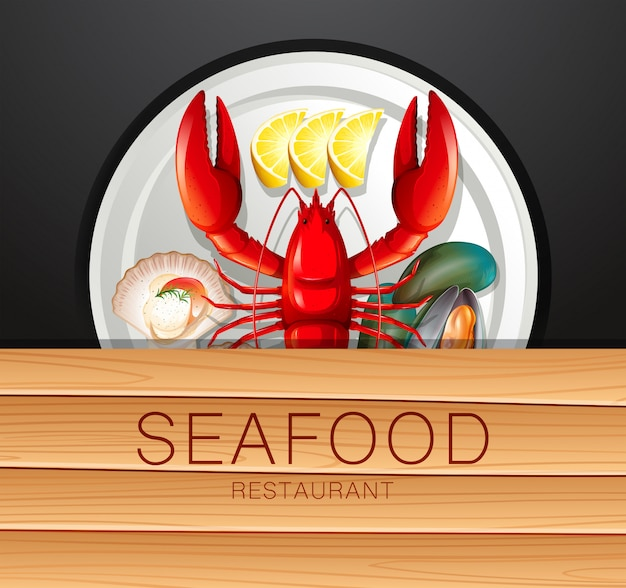 Set of seafood on plate
