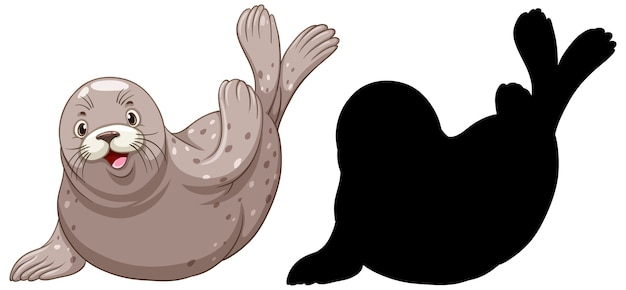 Set of seal characters and its silhouette on white background