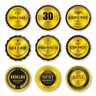 Set of seal gold badges and labels premium quality