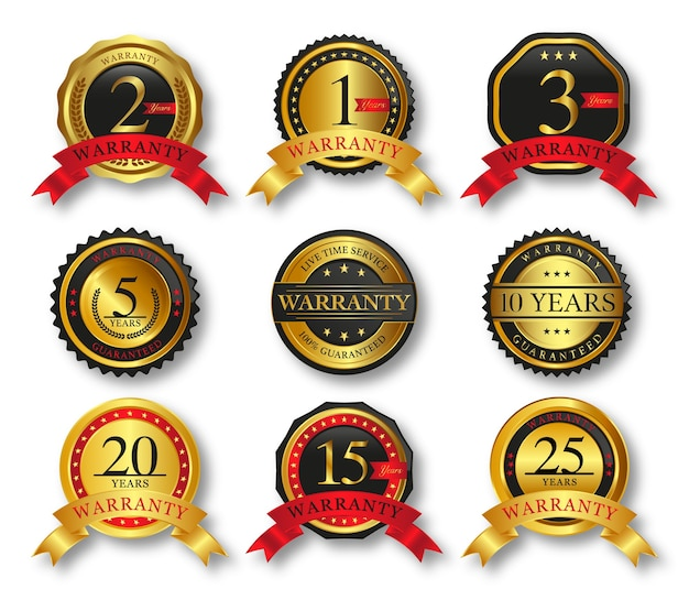 Set of seal gold badges and labels with ribbon premium quality