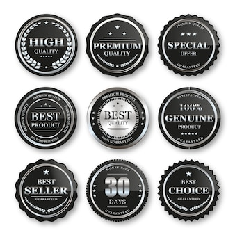 Set of seal silver badges and labels premium quality