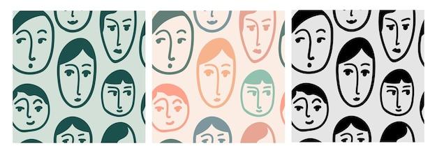 Установите бесшовные абстрактный узор с женскими лицами. фон коллекции с головами людей, нарисованными линией. иллюстрация к текстилю, обоям, оберточной бумаге. вектор
