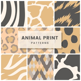 Set of seamless animal print pattern vectors