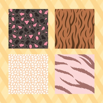Set of seamless animal skin textures, striped yellow background vector illustration