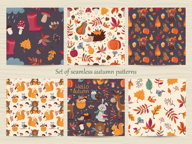 Set of seamless autumn patterns