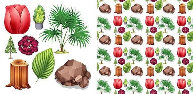 Set di design di sfondo senza soluzione di continuità con tema di oggetti isolati - natura