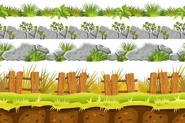 Set of seamless border old gray rock and grass Premium Vector