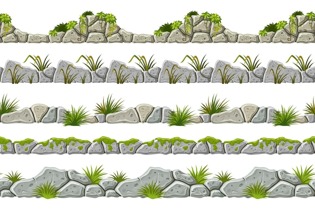 Set of seamless border old gray rock and grass