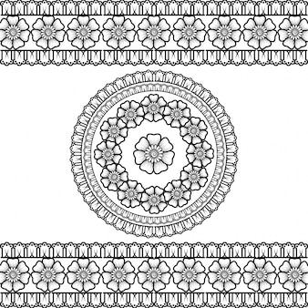 Set of seamless borders and circular ornament in form of frame for design, application. decorative pattern in ethnic oriental style.