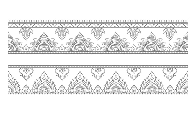 Set of seamless borders and ethnic oriental style