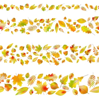 Set of seamless borders from autumn leaves.
