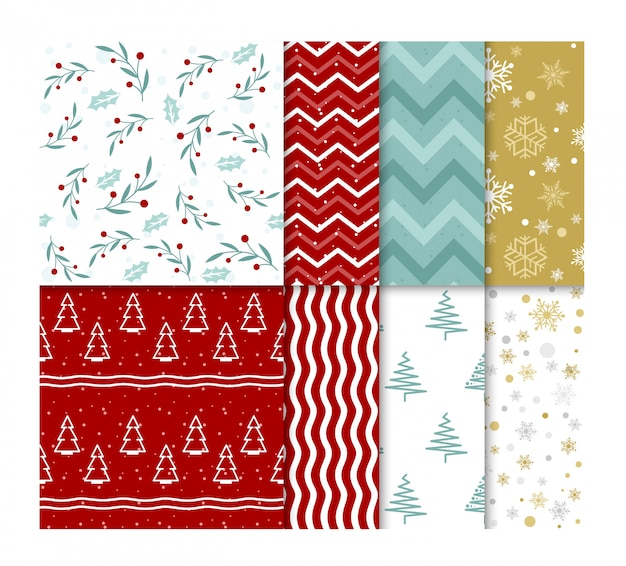 Set of seamless bright christmas patterns with snow and christmas trees in flat cartoon style.