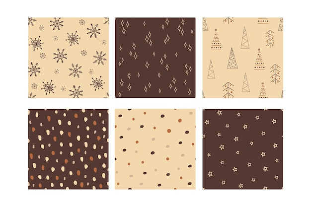 Set of seamless bright merry christmas patterns. for wallpaper, textile, backdrop, wrapping paper
