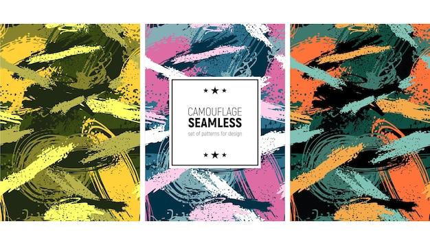 Set of seamless brush stroke pattern camouflage background