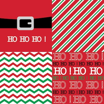 Set of seamless christmas background with red and green color