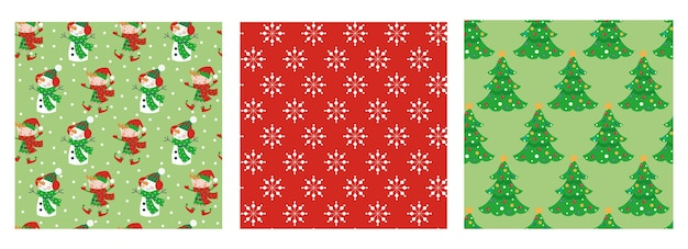Set of seamless christmas patterns with elves, snowman, snowflakes and trees.