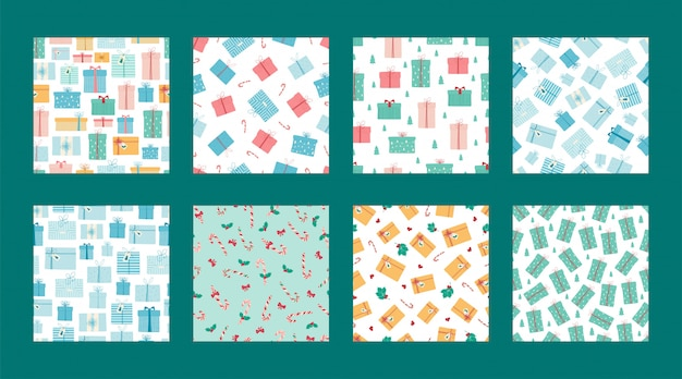 Set of seamless christmas patterns with gift boxes, mistletoe and candy cane