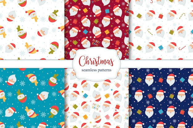 Set of seamless christmas patterns with santa, candy cane, gifts and snowmen.