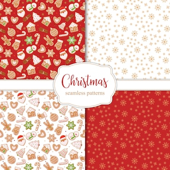 Set of seamless christmas patterns with snowflakes and different gingerbread. .