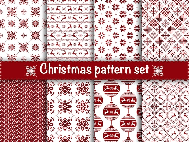 Set of seamless christmas patterns.