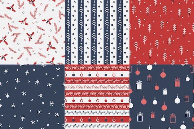 Set of seamless christmas patterns.