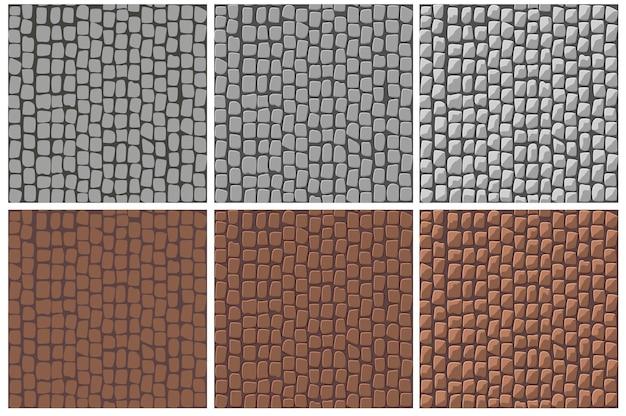Set of seamless cobblestone paving patterns