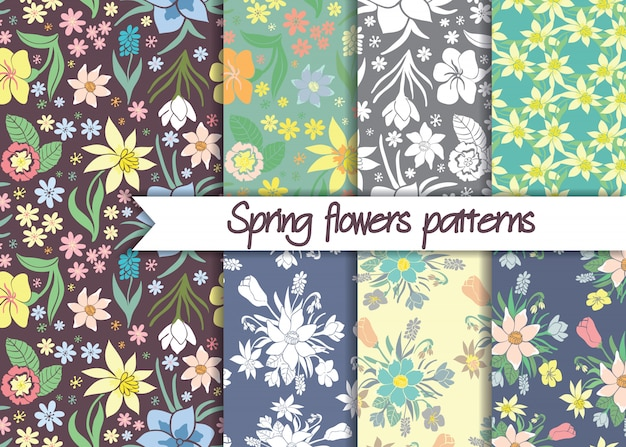 Set of seamless colorful spring floral patterns.