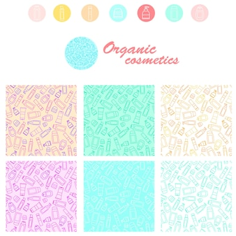 Set of seamless cosmetic pattern. linear style. tubes of shampoo, soap and cream. design of organic cosmetics. the icon for the store or spa. vector illustration.