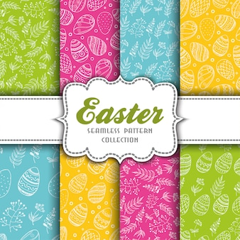 Set of seamless easter patterns with eggs and sprigs