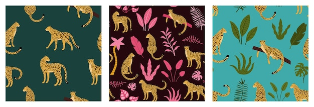 Set of seamless exotic pattern with abstract silhouettes of leopard