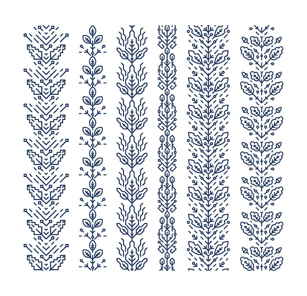 Set of seamless geometrical floral ornaments, decorative brushes