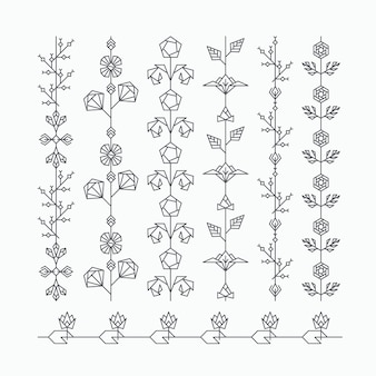 Set of seamless geometrical floral ornaments, hipster decorative brushes with polygonal leaves and flowers