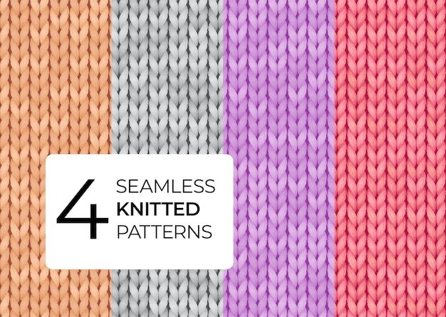 A set of seamless knitted patterns in pastel colors.