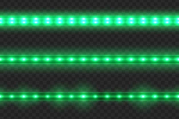 Set of seamless led glowing light stripes on transparent