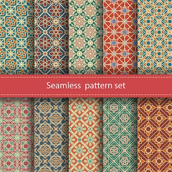 Set of seamless mosaic patterns.