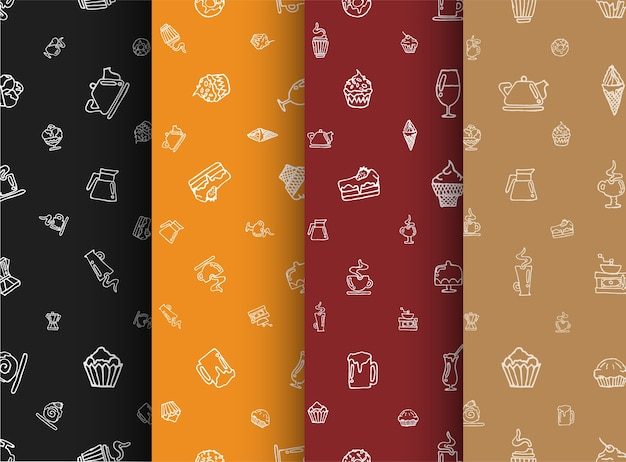 Set of seamless pattern of black, orange, red and brown colors with hand drawings. glasses, food, desserts and ice cream.