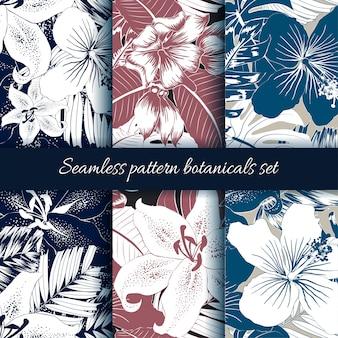Set of seamless pattern botanical abstract background.