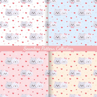 Set of seamless pattern cats in love