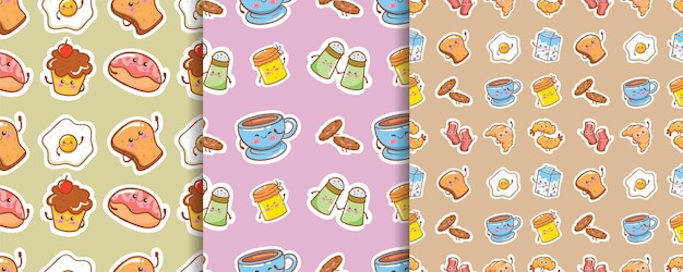 Set of seamless pattern cute breakfast cartoon character
