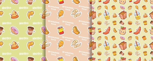 Set of seamless pattern cute fast food cartoon character
