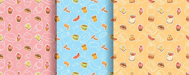 Set of seamless pattern cute food and drink cartoon character