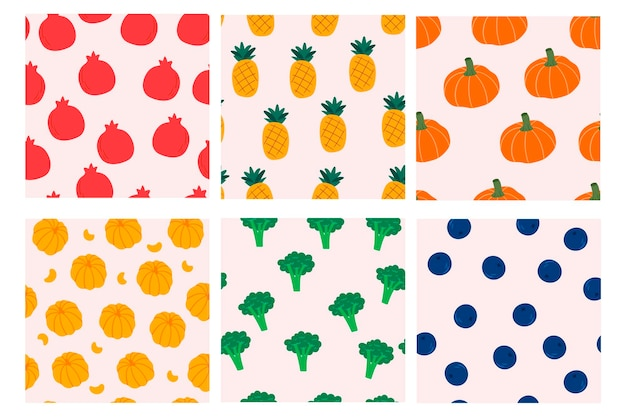 Set of seamless pattern designs with of fruits an vegetables design for cover fabric textile