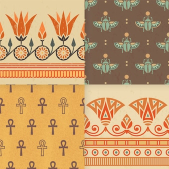 Set of seamless pattern of egyptian ornament.
