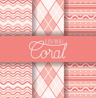 Set of seamless pattern living coral